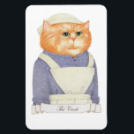 """Cook Cat 4&quot; x 6&quot; Flexible Magnet<br><div class=""""desc"""">The Cook prepares the meals for the family of the house, as well as the servants, presiding over the kitchen maids. She makes the luncheon and dinner menus, orders the food supplies, makes soup, pastries, jellies, creams and entrees, and makes sure the kitchen is locked up before going to bed....</div>"""