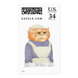 Cook Cat Large Postcard Stamps