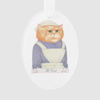 Cook Cat Oval Acrylic Ornament
