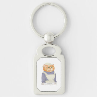 Cook Cat Rectangle Metal Keychain