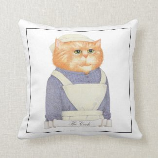 Cook Cat Square Throw Pillow (gray back)