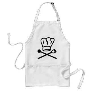 cook chef hat with wooden spoon icon adult apron