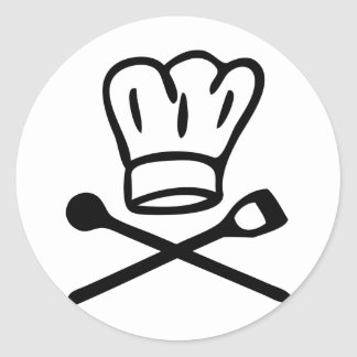 cook chef hat with wooden spoon icon classic round sticker