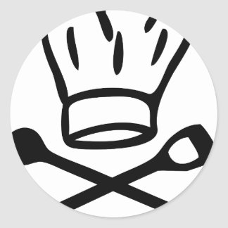 cook chef hat with wooden spoon icon round stickers