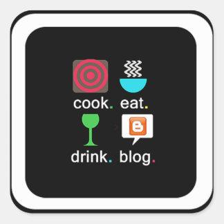 """Cook. Eat. Drink. Blog"" Square Sticker"