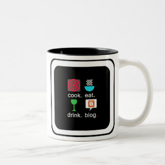 """Cook. Eat. Drink. Blog."" Two-Tone Mug"