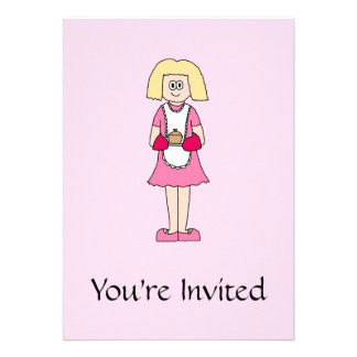 Cook in Pink and White. Personalized Invitations