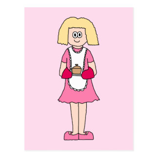 Cook in Pink and White. Postcard