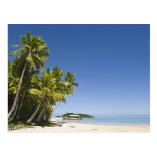 Cook Islands, Aitutaki. Polynesian canoe tour to Postcard
