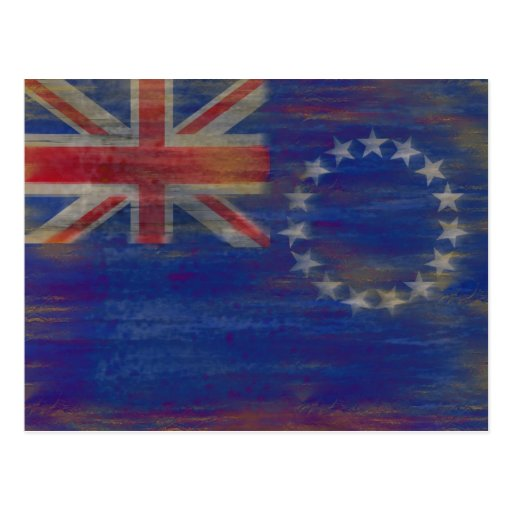 Cook Islands distressed flag Post Card
