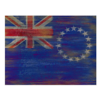 Cook Islands distressed flag Postcard