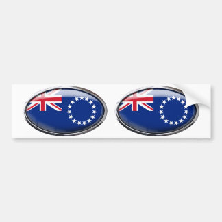 Cook Islands Flag Glass Oval Bumper Sticker