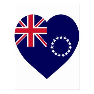Cook Islands Flag Heart Postcard