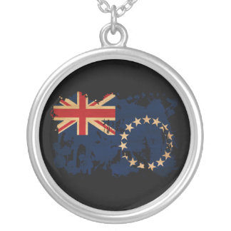Cook Islands Flag Round Pendant Necklace