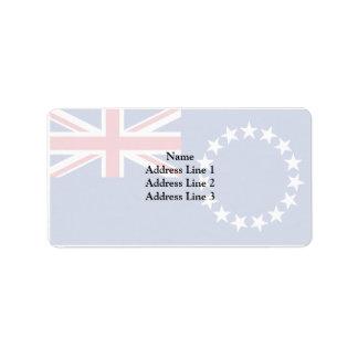 Cook Islands, New Zealand flag Address Label