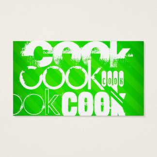 Cook; Neon Green Stripes Business Card
