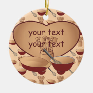 Cook or Chef Personalized Double-Sided Ceramic Round Christmas Ornament