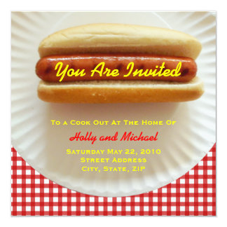 """Cook Out Invitation - Hot Dog on a Plate 5.25"""" Square Invitation Card"""