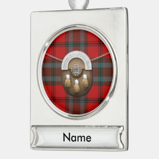 Cook Tartan And Sporran Silver Plated Banner Ornament