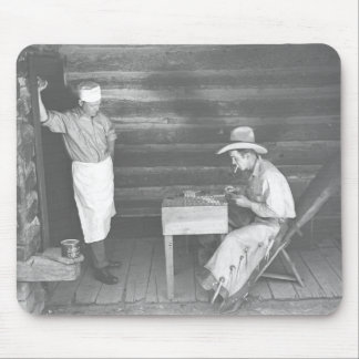 Cook watching a cowboy play cards 2 mouse pad