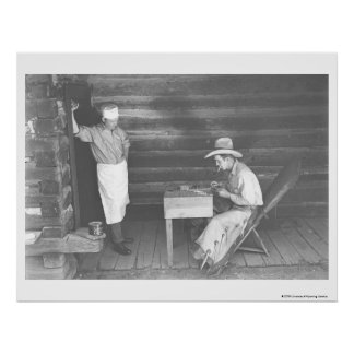 Cook watching a cowboy play cards 2 poster