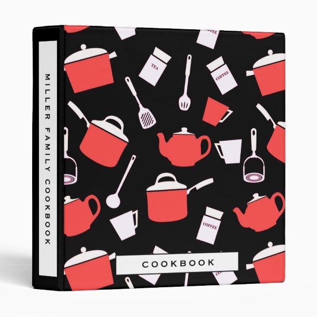 Cookbook | Black White & Red Kitchen Pattern 3 Ring Binder