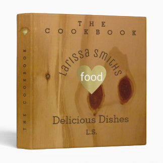 cookbook / delicious dishes, love food, faux wood 3 ring binder