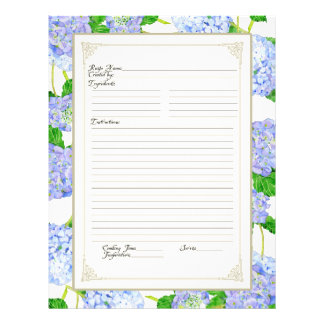Cookbook Page Blue Hydrangea Lace Floral Formal Flyer