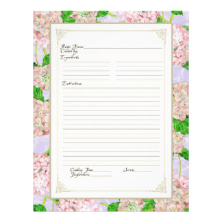 Cookbook Page Pink Hydrangea Lace Floral Formal Full Color Flyer