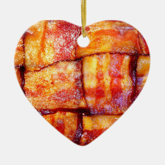 Cooked Bacon Weave Ceramic Ornament
