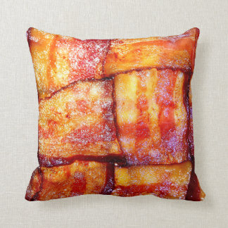 Cooked Bacon Weave Throw Pillow
