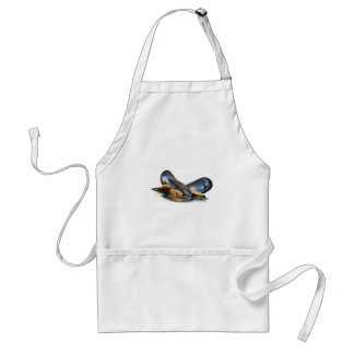 cooked mussels over white adult apron