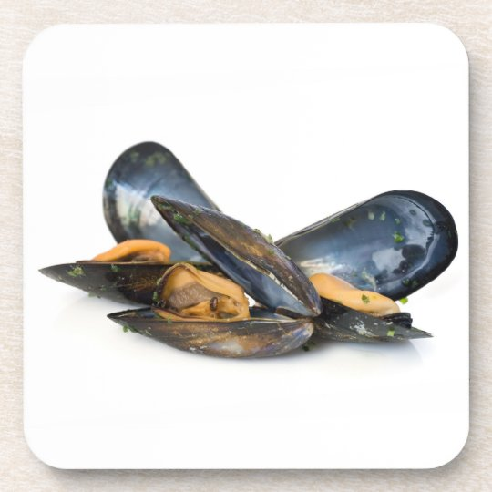 cooked mussels over white beverage coaster