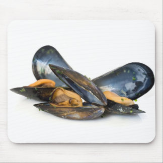 cooked mussels over white mouse pad