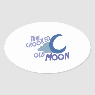 Cooked Old Moon Oval Sticker