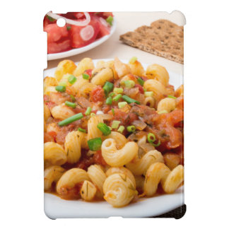Cooked pasta cavatappi with stewed vegetable sauce cover for the iPad mini
