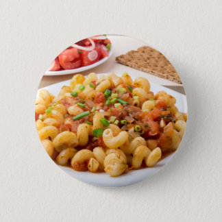 Cooked pasta cavatappi with stewed vegetable sauce pinback button
