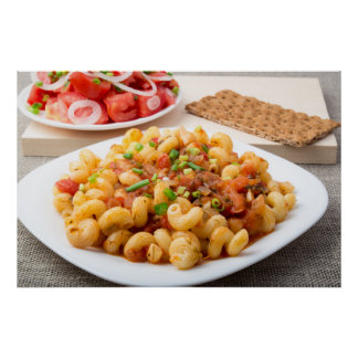 Cooked pasta cavatappi with stewed vegetables poster