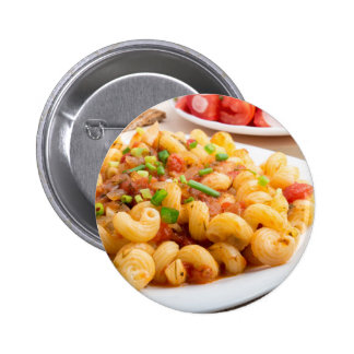 Cooked pasta cavatappi with vegetables sauce pinback button