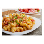 Cooked pasta cavatappi with vegetables sauce poster