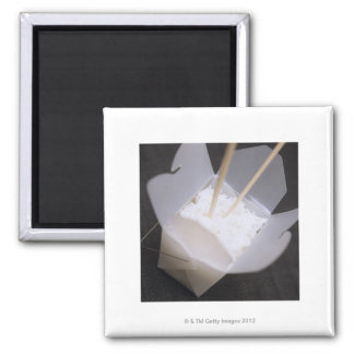 Cooked Rice in a To-go Container 2 Inch Square Magnet