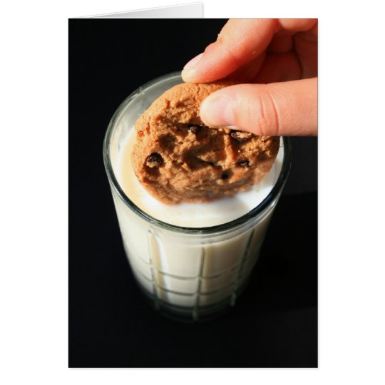 Cookie and a Glass of Milk Greeting Card,Note Card