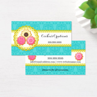 Cookie Bakery Damask Scalloped Border Business Card