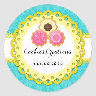 Cookie Bakery Damask Yellow Scallop Seals Classic Round Sticker