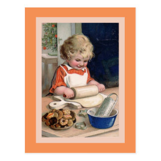 Cookie Baking at Christmas Card Postcard