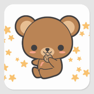 Cookie Bear Square Sticker