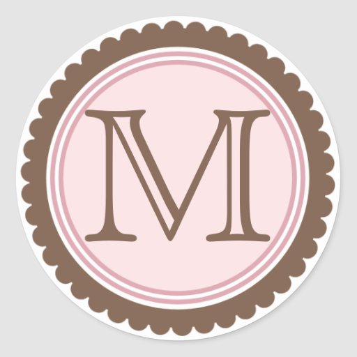 Cookie Cut Chocolate Pink Monogram Initial Sticker
