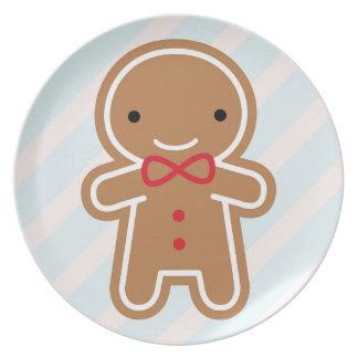 Cookie Cute Kawaii Gingerbread Man Melamine Plate