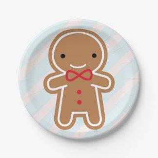 Cookie Cute Kawaii Gingerbread Man Paper Plate