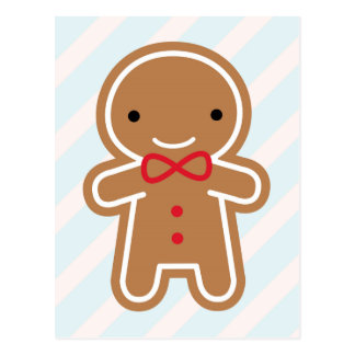 Cookie Cute Kawaii Gingerbread Man Postcard